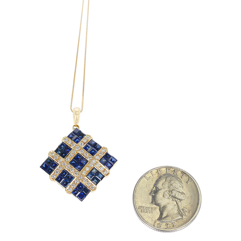 Square Mystery Set Sapphire Pendant Necklace with Diamonds, 18K Yellow Gold