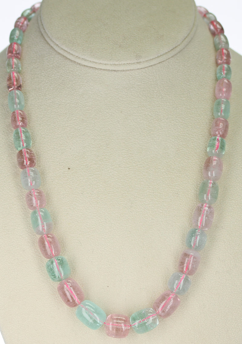 Pink and Green Smooth and Tumbled Tourmaline Beads, 14K