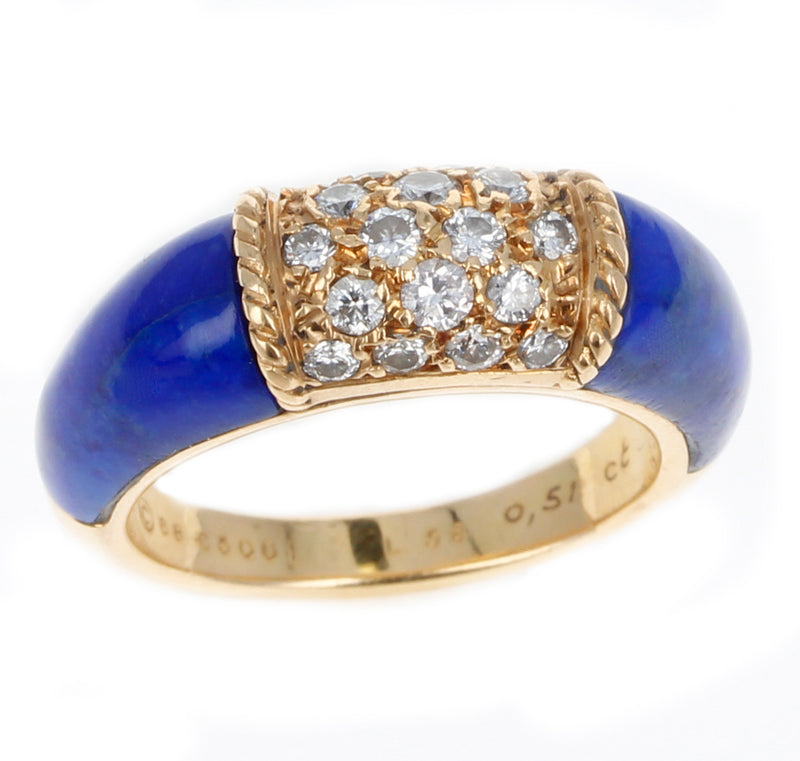 Van Cleef & Arpels Lapis and 5 Row Diamond Stacking Philippine Ring, 18K Yellow