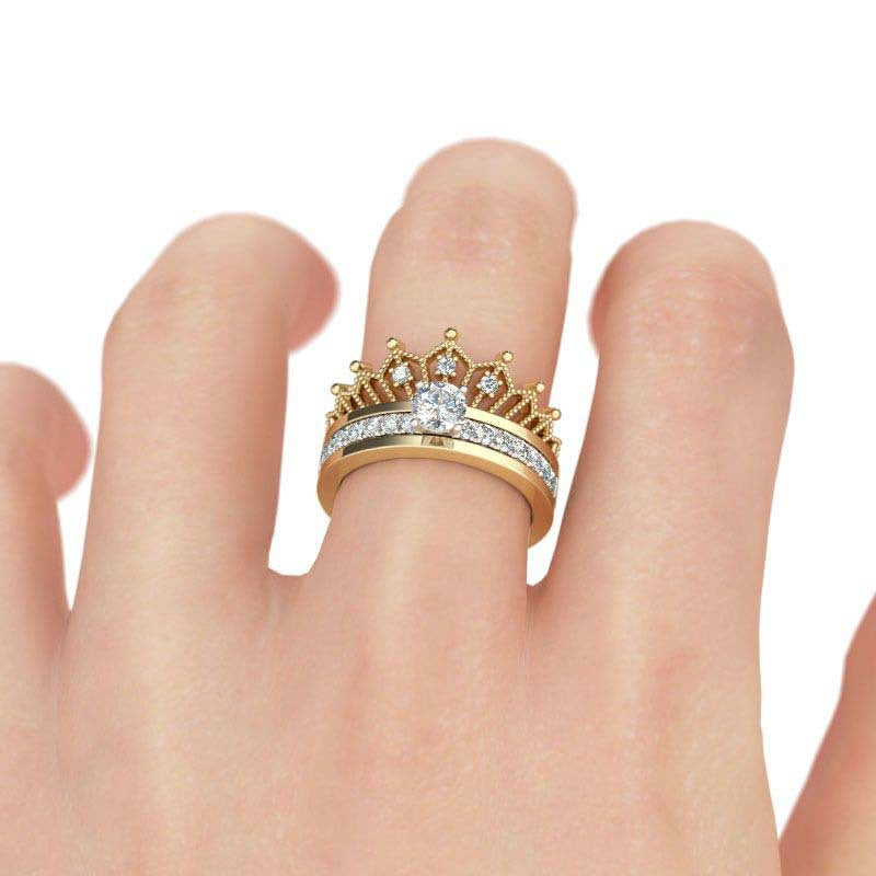 50% OFF- 925 sterling silver 2 in 1 round cut crown sound ring