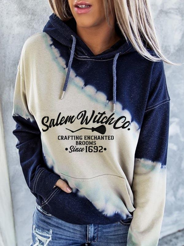 Women's Halloween Salem witch Print Hoodie