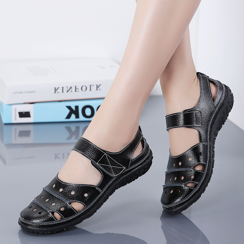 Women's Leather Hollow Hook Casual Flat Sandals
