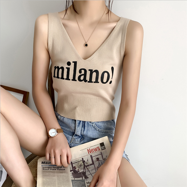 Tops Women Knitted Sexy Crop Tops V-Neck Lettering milano