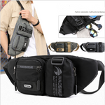 Men's Nylon Waist Bag On a Belt Kidney Banana Fanny Pack Outdoor Casual Travel Waist Belt Pack Shoulder Pouch Chest Bag Male