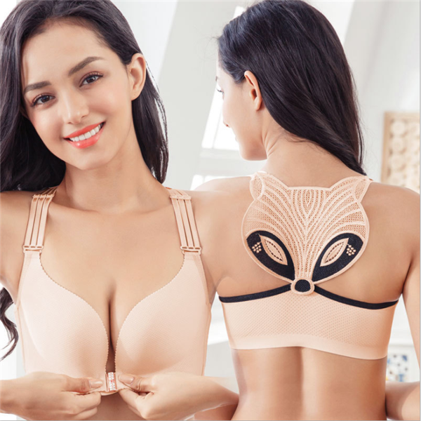 Fox beauty back button bra  Gathering breast bra