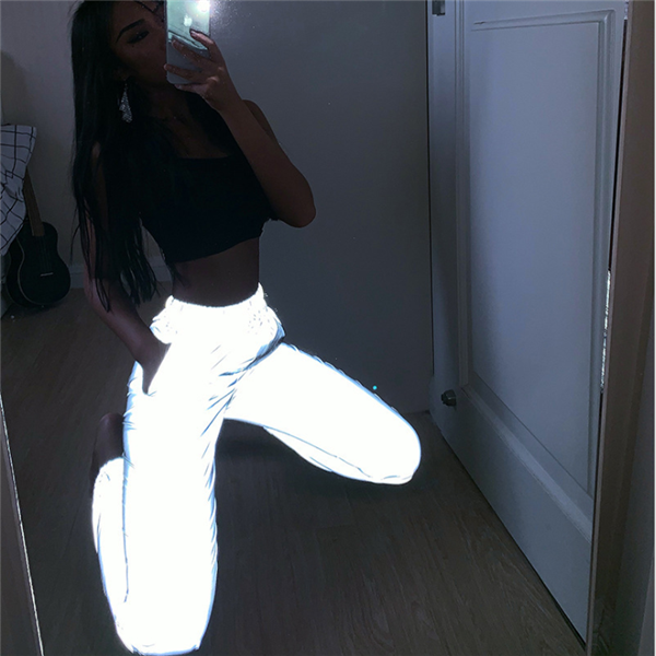 Women Sweatpant flash Reflective Pants Joggers Hip Hop Dance Show Party Night Jogger Baggy Trousers Plus Size odblaskowe spodnie
