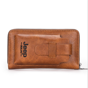 Men's leather clutch, mobile phone wallet, double zipper wallet, luxury leather clutch with large capacity