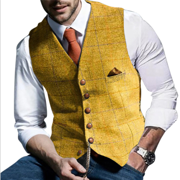 Men's single breasted stand collar vest