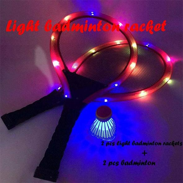 LED Luminous Badminton Racket Set(2 X badminton rackets & 2 X luminous badminton)
