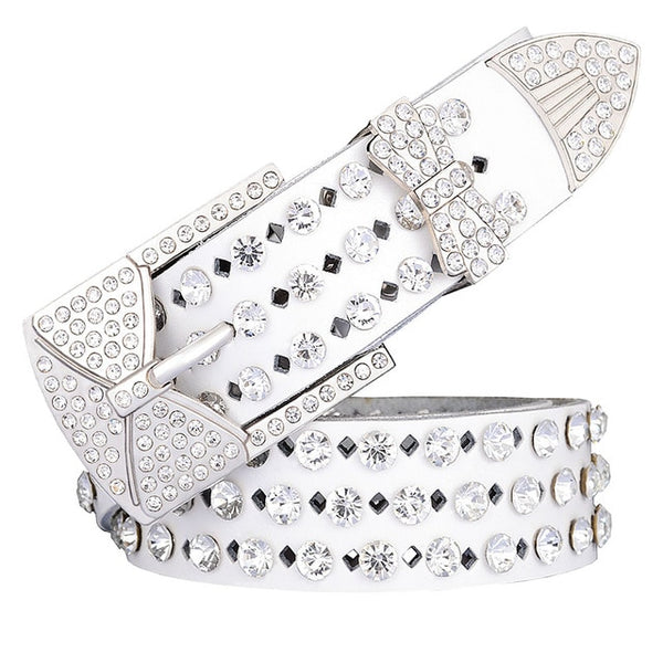 Beautiful Bling Genuine Leather Bowtie Belt