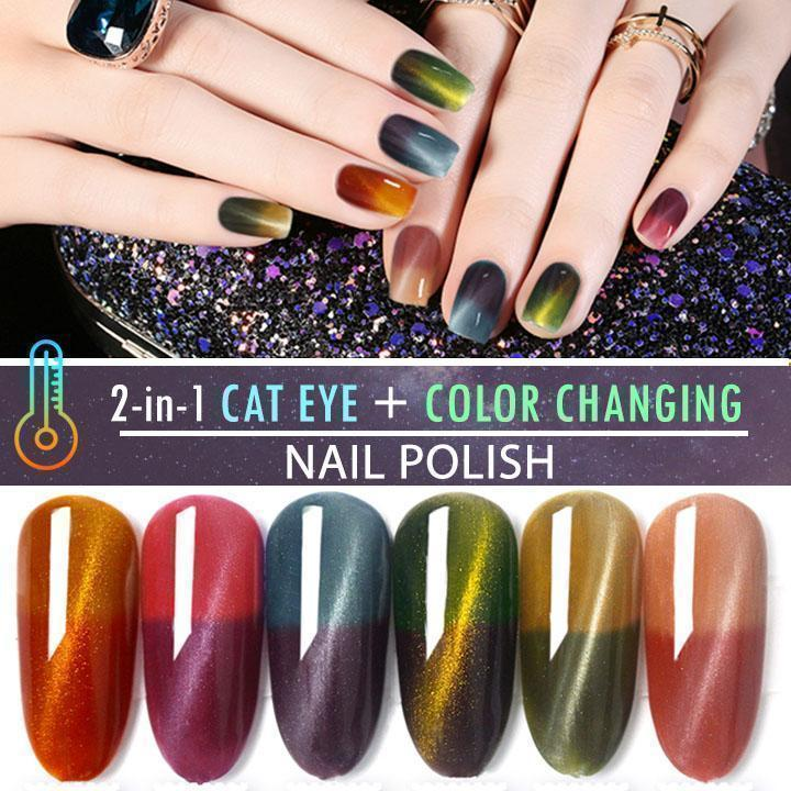 2-in-1 Cat Eye Thermochromic Nail Polish - Hazelnutway.us