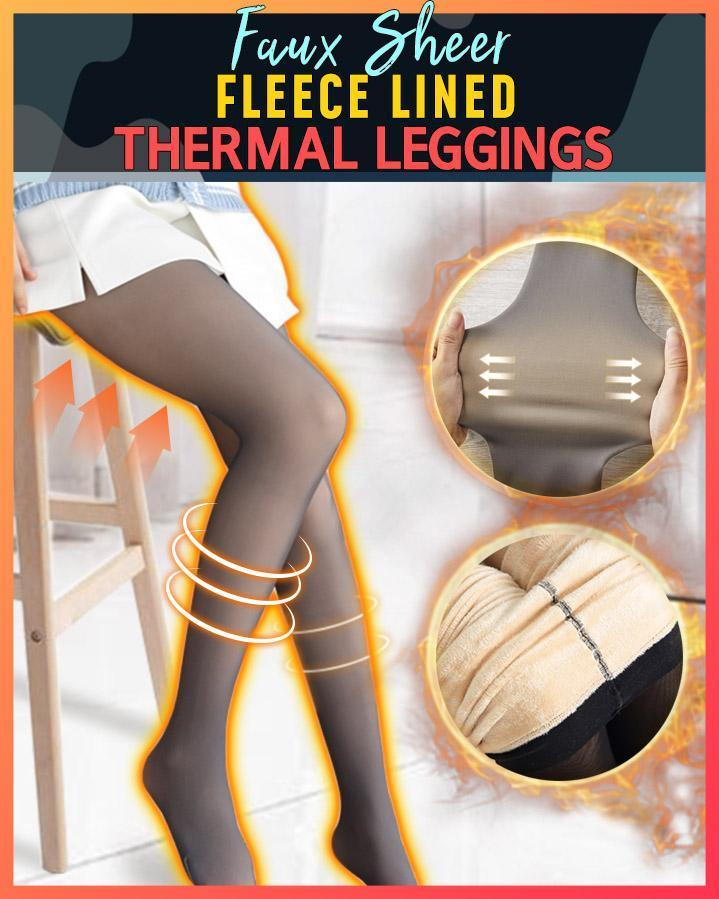 Faux Sheer Fleece Lined Thermal Tights - Hazelnutway.us