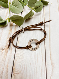 Hand stamped Be Kind leather bracelet