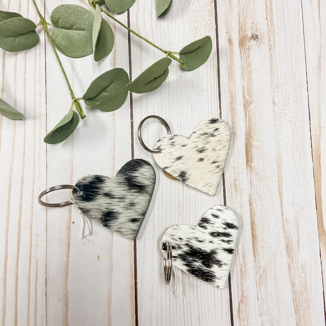 Cowhide Heart Keychains