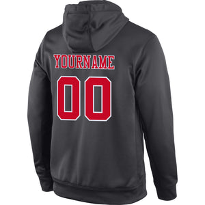 Custom Stitched Anthracite Red-White Sports Pullover Sweatshirt Hoodie