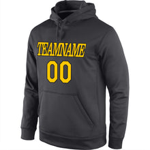 Load image into Gallery viewer, Custom Stitched Anthracite Gold-Black Sports Pullover Sweatshirt Hoodie
