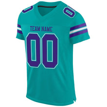 Load image into Gallery viewer, Custom Aqua Purple-White Mesh Authentic Football Jersey