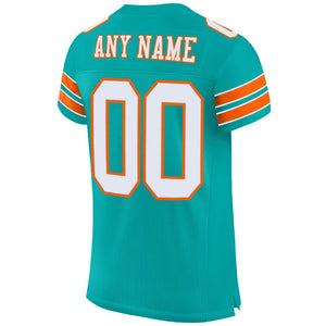 Custom Aqua White-Orange Mesh Authentic Football Jersey