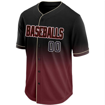 Custom Crimson Black-White Fade Baseball Jersey