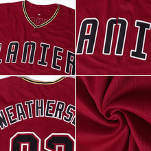 Load image into Gallery viewer, Custom Crimson Black-Khaki Baseball Jersey