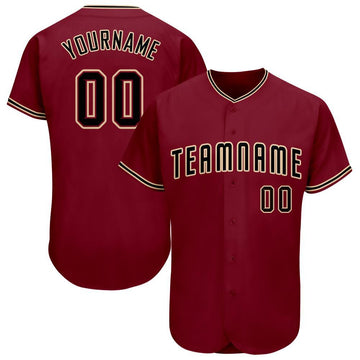 Custom Crimson Black-Khaki Baseball Jersey