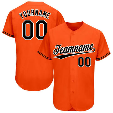 Custom Orange Black-White Baseball Jersey