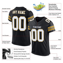 Load image into Gallery viewer, Custom Black White-Old Gold Mesh Authentic Football Jersey