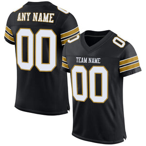 Custom Black White-Old Gold Mesh Authentic Football Jersey