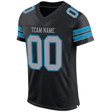Load image into Gallery viewer, Custom Black Light Gray-Panther Blue Mesh Authentic Football Jersey