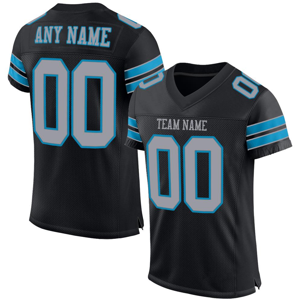 Custom Black Light Gray-Panther Blue Mesh Authentic Football Jersey