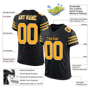 Custom Black Gold-White Mesh Authentic Football Jersey