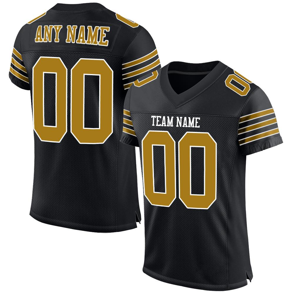 Custom Black Old Gold-White Mesh Authentic Football Jersey