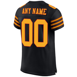 Custom Black Gold-Scarlet Mesh Authentic Football Jersey
