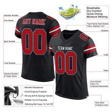 Load image into Gallery viewer, Custom Black Red-White Mesh Authentic Football Jersey