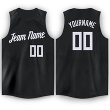 Load image into Gallery viewer, Custom Black White Round Neck Basketball Jersey