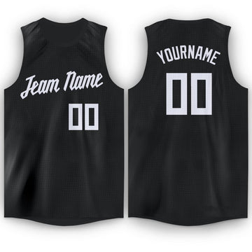 Custom Black White Round Neck Basketball Jersey