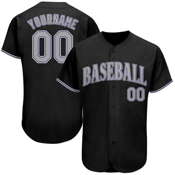 Custom Black Gray-Purple Authentic Baseball Jersey