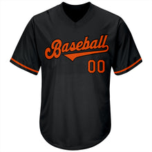 Load image into Gallery viewer, Custom Black Orange-Black Authentic Throwback Rib-Knit Baseball Jersey Shirt