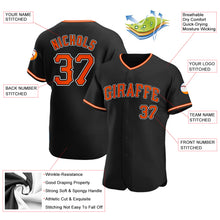 Load image into Gallery viewer, Custom Black Orange-White Authentic Baseball Jersey