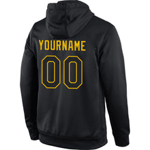 Load image into Gallery viewer, Custom Stitched Black Black-Gold Sports Pullover Sweatshirt Hoodie