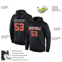 Load image into Gallery viewer, Custom Stitched Black Orange-Gray Sports Pullover Sweatshirt Hoodie
