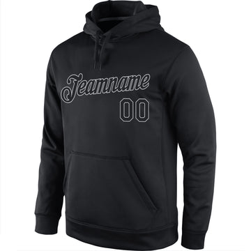 Custom Stitched Black Black-Gray Sports Pullover Sweatshirt Hoodie