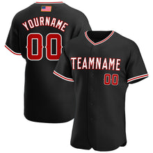 Load image into Gallery viewer, Custom Black Red-White Authentic American Flag Fashion Baseball Jersey