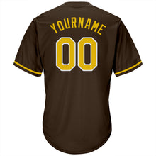 Load image into Gallery viewer, Custom Brown Gold-White Authentic Throwback Rib-Knit Baseball Jersey Shirt