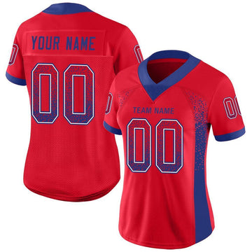Custom Red Royal-White Mesh Drift Fashion Football Jersey