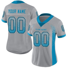 Load image into Gallery viewer, Custom Light Gray Panther Blue-Black Mesh Drift Fashion Football Jersey
