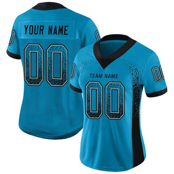 Custom Panther Blue Black-Gray Mesh Drift Fashion Football Jersey