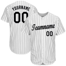 Load image into Gallery viewer, Custom White Black Strip Black-Gray Baseball Jersey
