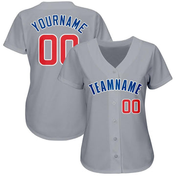 Custom Gray Red-Royal Baseball Jersey