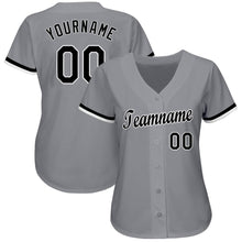 Load image into Gallery viewer, Custom Gray Black-White Baseball Jersey